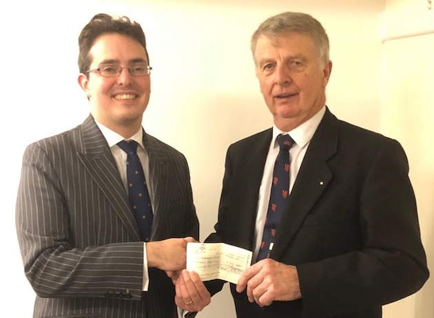 WB Rod Allen Presents cheque to Alexander Priest on behalf of South Somerset Mind